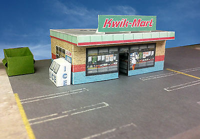 "N Scale Building - ""Kwik-Mart"" Small Store Card Stock Paper Kit Pre-Cut"