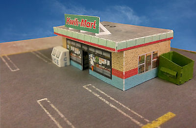 "Z Scale Building - ""Kwik-Mart"" Small Store Card Stock Paper Kit Pre-Cut"