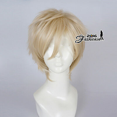30CM Light Blonde Men Short Layered Party Fashion Synthetic Cosplay Wig+Wig Cap