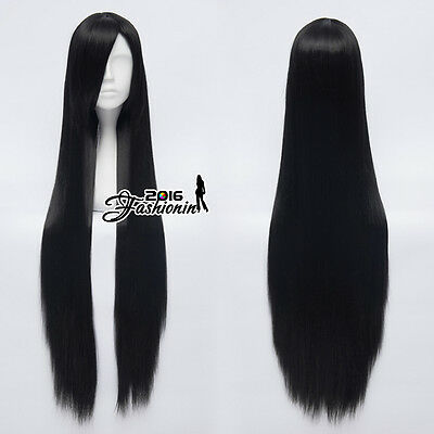 100CM Black Long Straight Women Basic Party Hair Heat Resistant Cosplay Wig