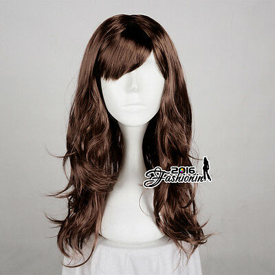 60CM Fashion Long Curly Dark Brown Basic Women Synthetic Hair Cosplay Party Wig