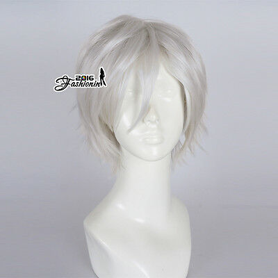30CM Silver White Unisex Short Layered Party Fancy Synthetic Cosplay Wig+Wig Cap