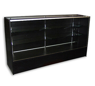 Showcase Display Full Vision Black 6' Knockdown Glass Shelf Store Fixture New