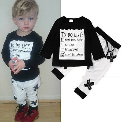 UK Stock Toddler Baby Boys Clothes Outfit T-shirt Top +Long Pants Infant Outfits
