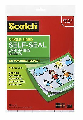 Scotch Self Seal Laminating Sheet Single Sided 9x12in Letter Size Art Work 10Pc