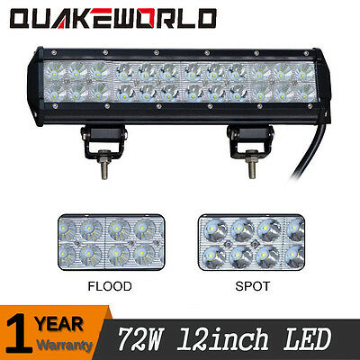 72W 12inch Led Work Light Bar Flood Spot Suv Boat Driving Lamp 4WD Jeep Dodge 1P