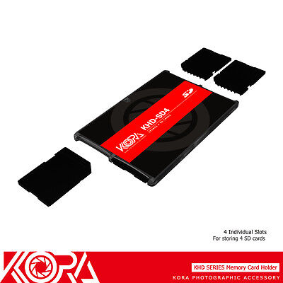 KORA Ultra Slim Memory Card Holder Storage Protector Compact Case for 4 SD Cards
