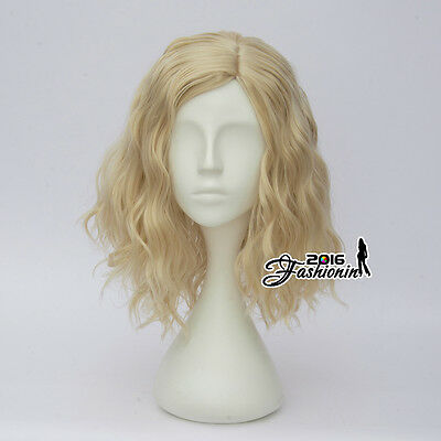 35CM Party Light Blonde Women Girl Lolita Style Curly Cosplay Wig Heat Resistant