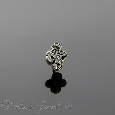 Real Solid 925 Sterling Silver Clear Four Dot Flower Ball End Bone Nose Stud