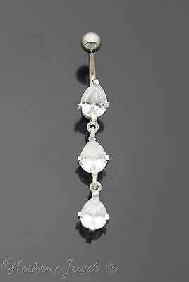 Pretty 925 Sterling Silver Pear Drop Clear Cz 316L Surgical Steel Belly Bar Ring