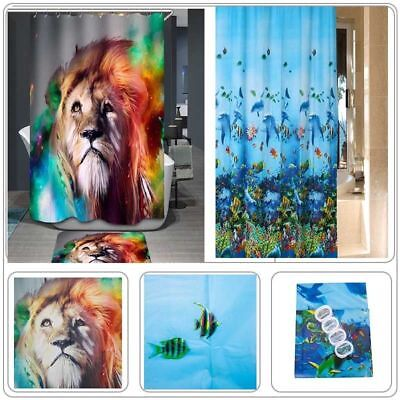 3D Animal Design Fabric Waterproof Shower Curtain Bathroom Bath Panel With Hooks