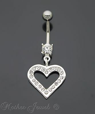 Real 925 Sterling Silver Love Heart Dangle Cz 316L Surgical Steel Belly Bar Ring