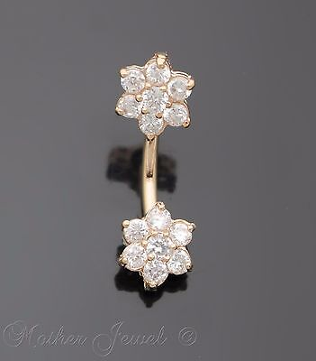 Rose Gold Triple Plate 9Mm Twin Flower Cz 316L Surgical Steel Belly Bar Ring