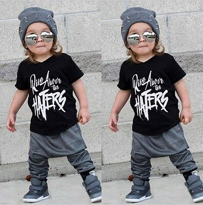 USA Stylish Toddler Kids Boy Short Sleeve Tops T-shirt Pants Outfits Set Clothes