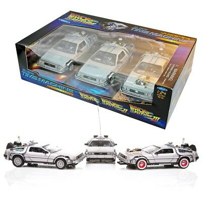 RITORNO FUTURO Box SET 3 Modelli DELOREAN BTTF 1/24 Welly Models BACK FUTURE