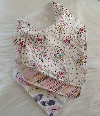 Baby girls bandana bib in Antler feather  lines bandana by Tractors & Fairies