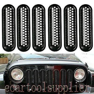 7Pcs Black Trim Front Grille Cover Insert Mesh Grill for 07-17Jeep JK Wrangler