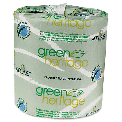 Green Heritage Toilet Tissue, 4 1/2 x 3 1/2 Sheets, 2-Ply, 500/Roll, 96...