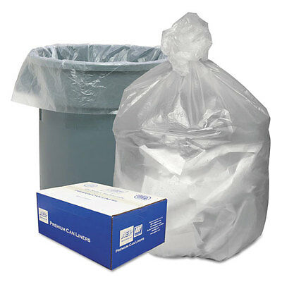 High Density Waste Can Liners, 55-60gal, 12 Microns, 38x58, Natural, 200/Carton