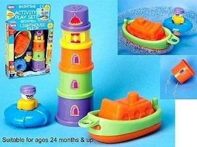 Bath Time Play Set-Lighthouse Pile Up Activity Play Set Boat Bath Toy-55078