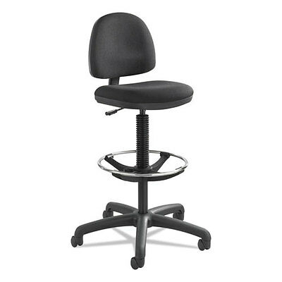 Precision Extended Height Swivel Stool w/Adjustable Footring, Black Fabric