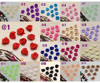 Mixed 25-100pcs Satin Ribbons Rose Flowers DIY/Craft/Wedding Festival Appliques