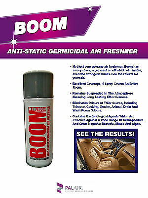 BOOM! Industrial Strength Anti-Static Fresh New Leather Smell Air Freshener