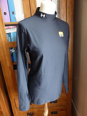 BNWT Under Armour black Coldgear mock neck long sleeve top L NEW fitted compress