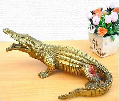Huge 10 inches Brass Copper handwork carve Crocodile Decoration Statue