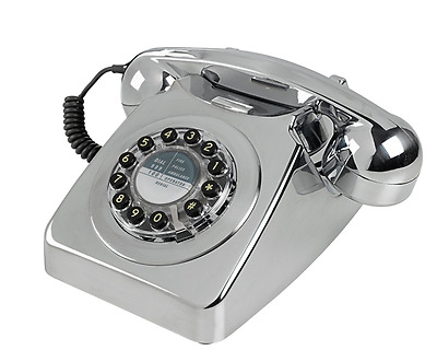Retro Vintage Chrome Telephone, Corded Bell Phone Classic Push Button Dial Style