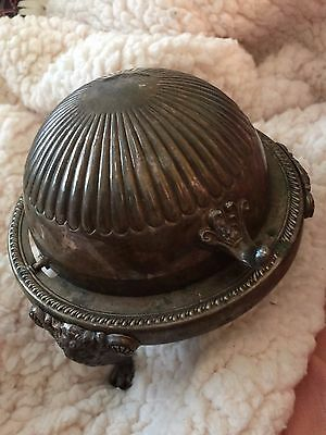 Rogers Silver Co. Silver on Copper Roll Top Dome Butter Dish