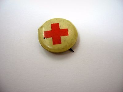 Vintage Collectible Pin Button: Red Cross