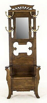 B624 Antique Ash Hall Tree Bench, Storage, Umbrella Stand, Mirror, Hooks