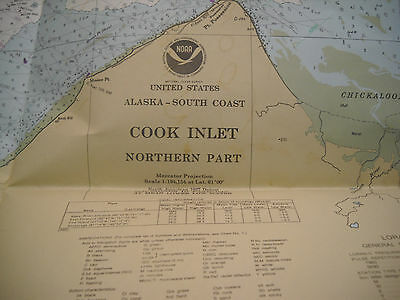 Vintage '82 Alaska Cook Inlet Northern Part Nautical Map Chart 46 x 35 Folded