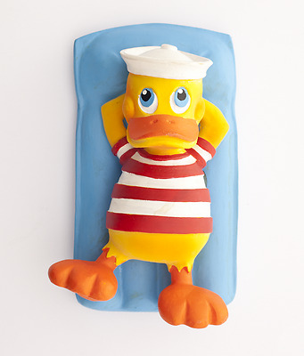 Natural rubber toy Duck on pool lounger by Lanco