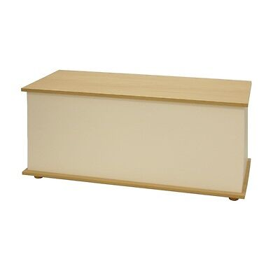 Ottoman Storage Chest Oak Ivory Toy Chest Bedding or Blanket Box Large Wooden