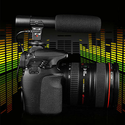 Professional On Camera Shoe Mount Stereo Recording 3.5mm Microphone For DSLR