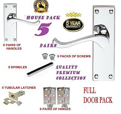 Full Door Pack X 5: MODERN Chrome  VICTORIAN  Silver Scroll Lever Door Handles D