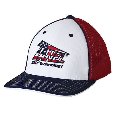 Tanel 360 USA Logo Baseball/Softball Trucker Hat Pacific 404M, Wht/Nvy/Red - S/M