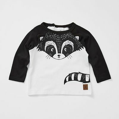NEW Baby Long Sleeve Raglan Racoon Novelty T-Shirt