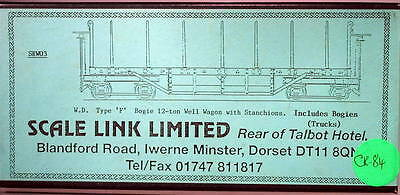 Scale Link 1/32 W.D. Typre F Bogie 12 ton Well Wagon with Stanchions Kit CK-84