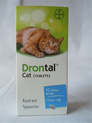 Bayer Drontal Plus for Cat 40 Tablet Dewormer Allworms Round and Tap Worm Health