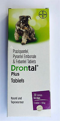 Bayer Drontal Plus for Dog 20 Tablet Dewormer Allworms Round and Tap Worm Health