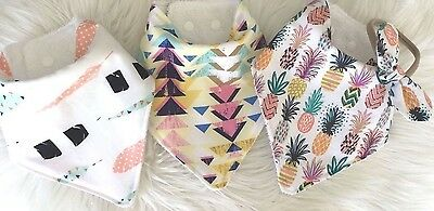 Baby bandana bib in Pineapple aztec tribal and feather by Tractors and Fairies