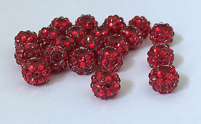 20 Pcs 12mm Acrylic Round Rhinestone Spacer Loose Beads For Jewelry Making