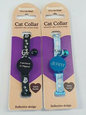 Gloss Reflective Cat, Kitten Collar With Bell And Id Tag Engraved Split Rings