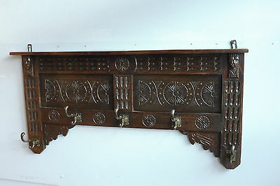 Antique Coat Rack in Oak Wood Carved Wood Vintage Antique