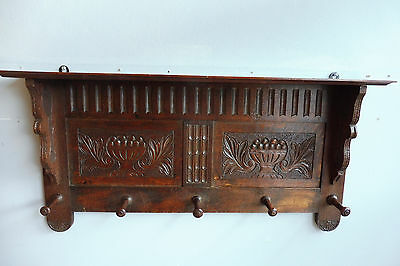 Old Antique Coat Rack in Oak Wood Carved Wood Vintage Antique