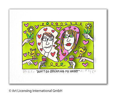 "Original James Rizzi 3 D Bild "" Don´t go breaking my heart "" NEU mit Zertifikat"