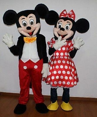 New HOT Adult Suit Size MICKEY MOUSE AND MINNIE MOUSE mascot costume